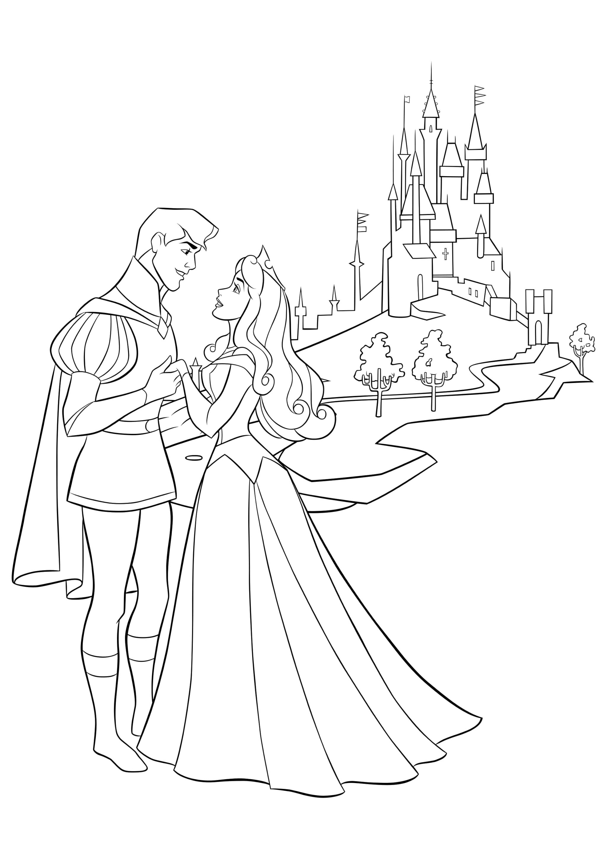 Раскраска Аврора и Филипп