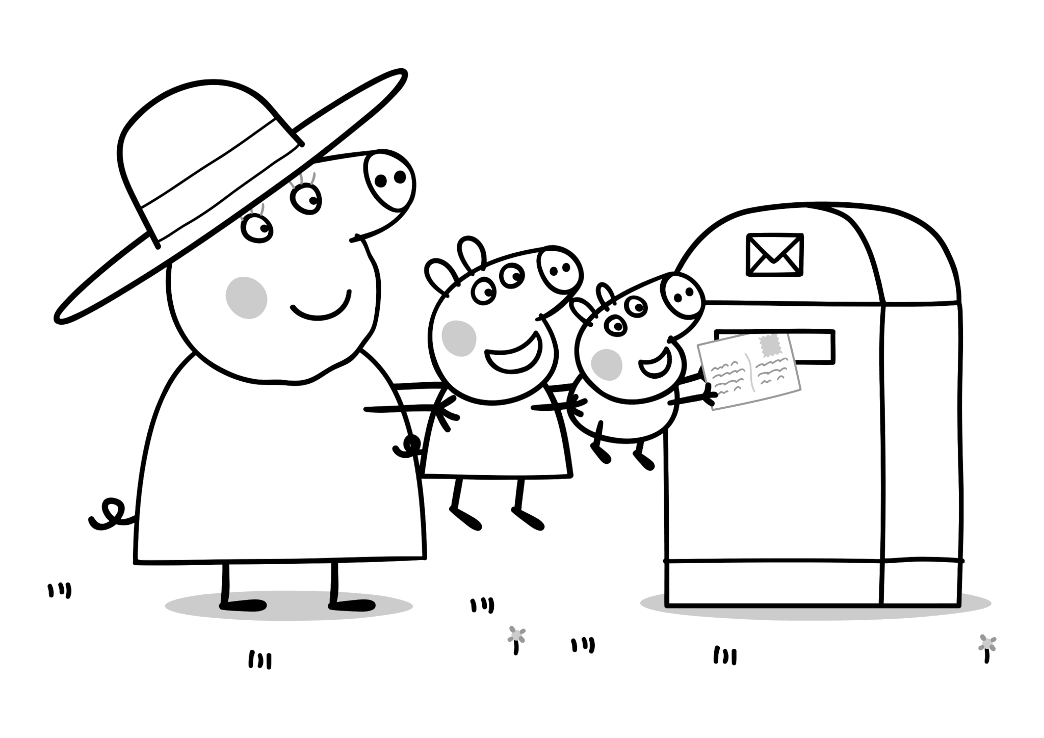 Раскраска Бабушка Свинка с Пеппой и Джорджем отправляют письмо