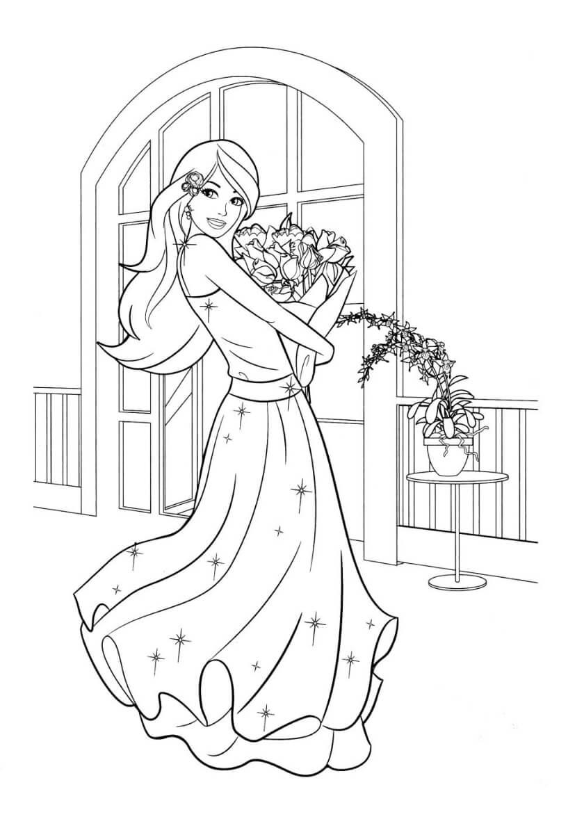 Раскраска Барби и букет цветов
