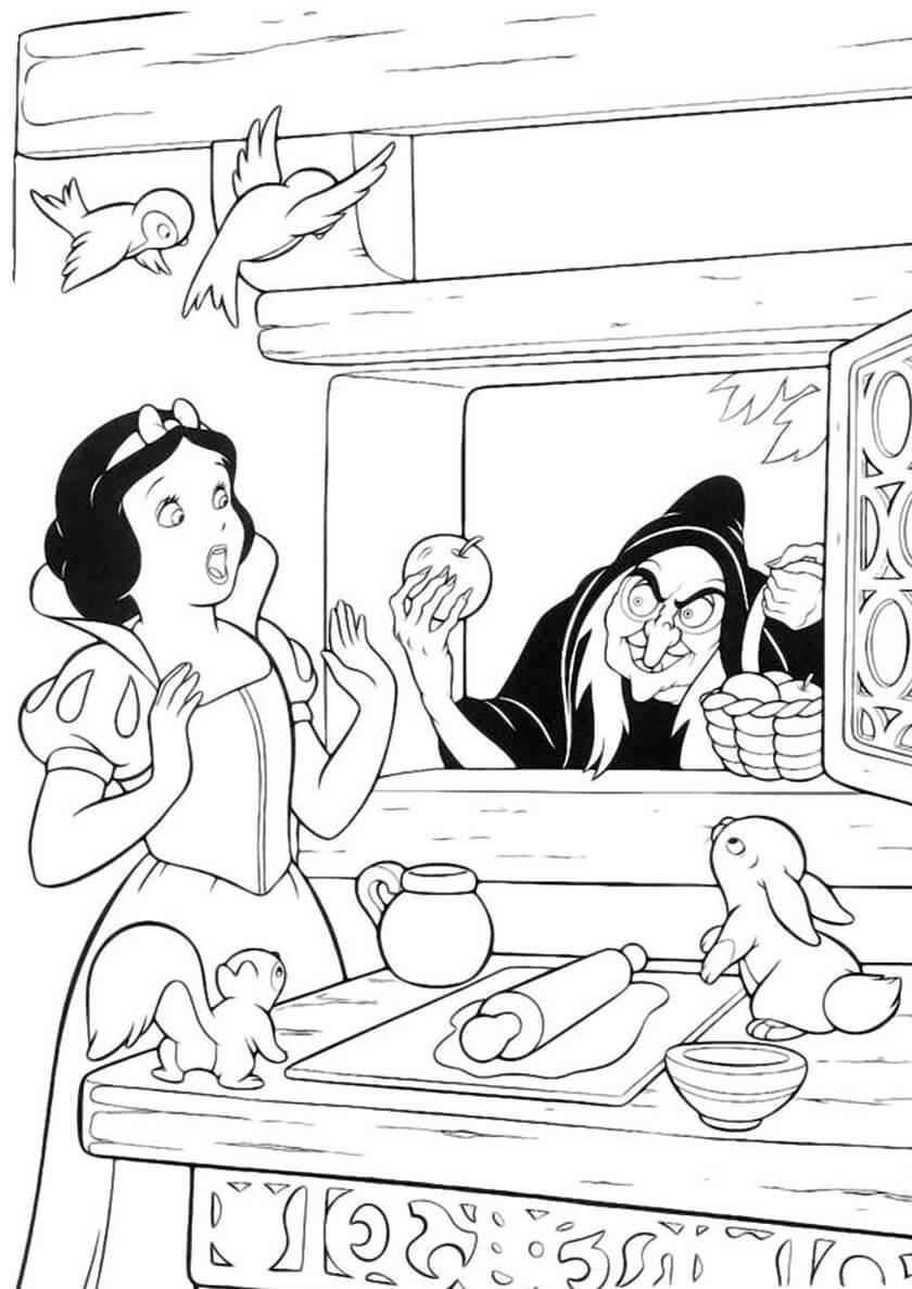 Раскраска Белоснежка и отравленное яблоко