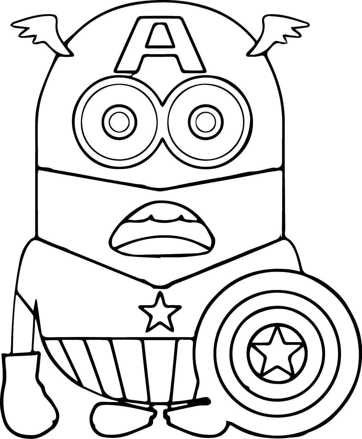 Раскраска Боб в костюме Капитана Америки