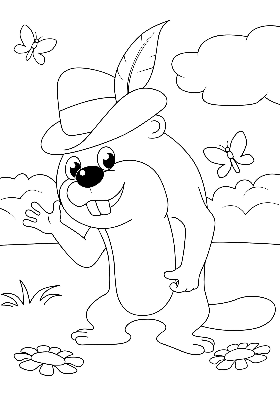 Раскраска Бобр в лесу