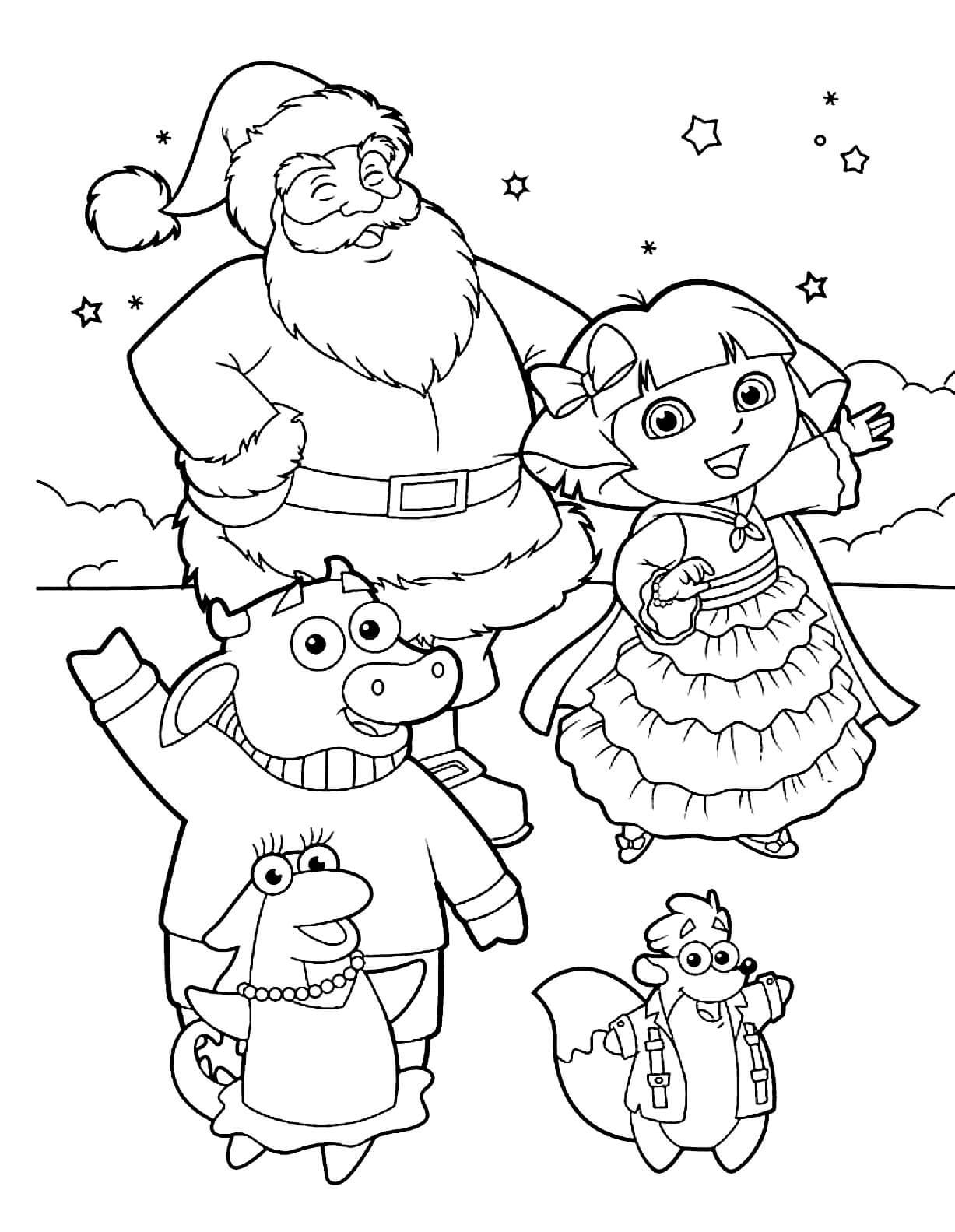 Раскраска Даша-путешественница, Тико, Бенни, Игуана Иса и Санта Клаус