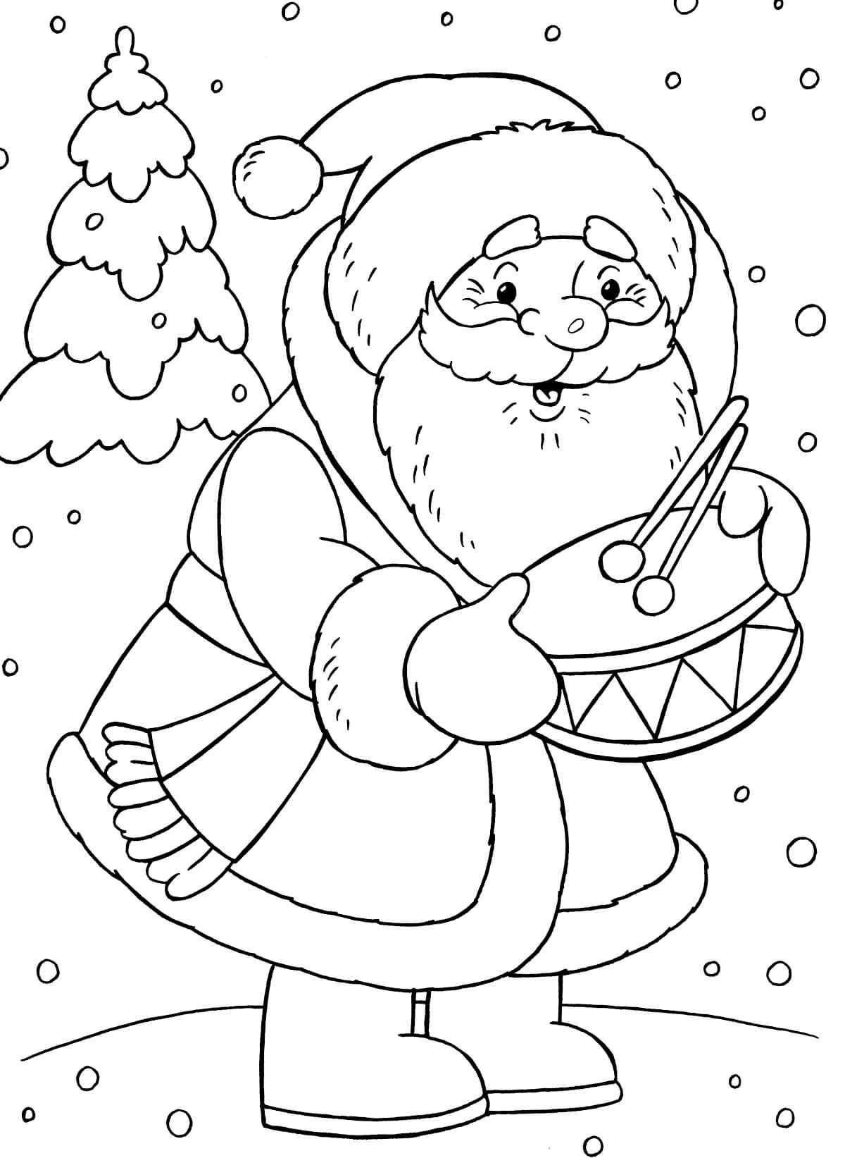 Раскраска Дед Мороз дарит барабан
