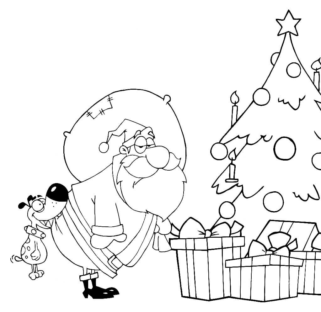 Раскраска Дед Мороз и пёс