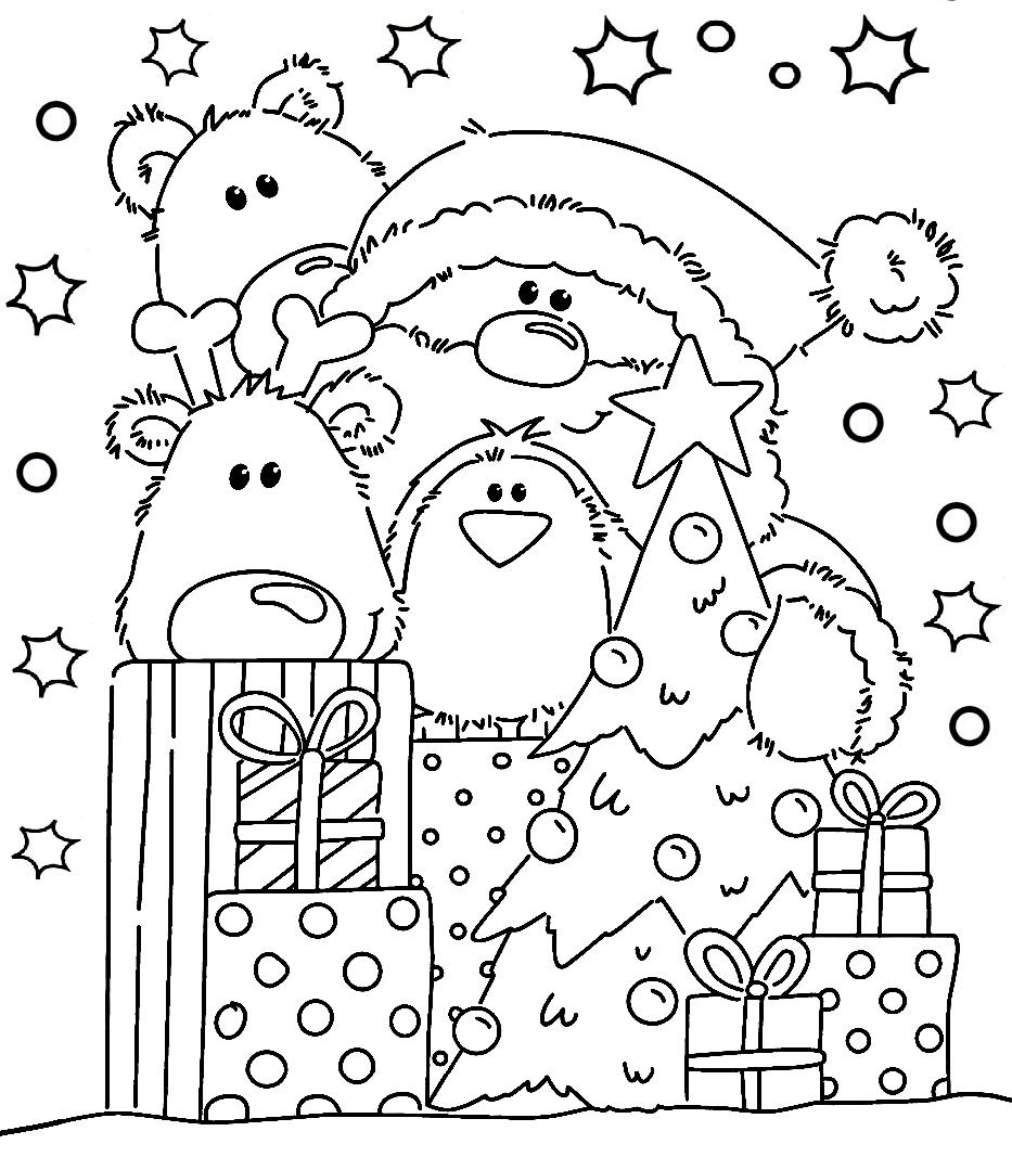 Раскраска Дед Мороз и зверята