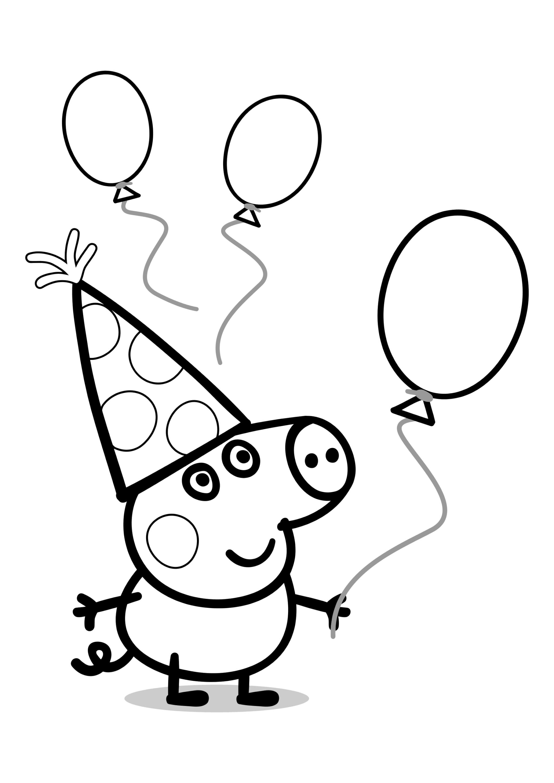 Раскраска День рождения Поросёнка Джорджа