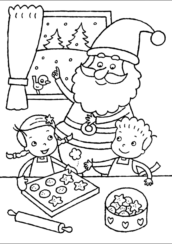 Раскраска Дети и Санта Клаус пекут пряники