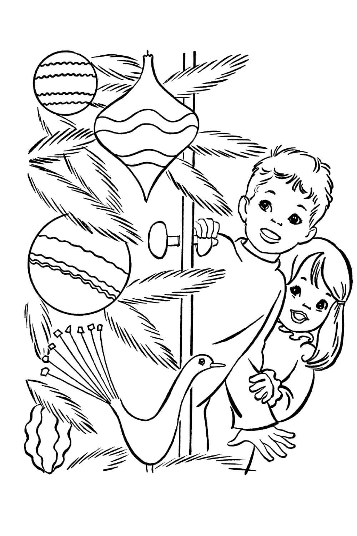 Раскраска Дети и ёлочка