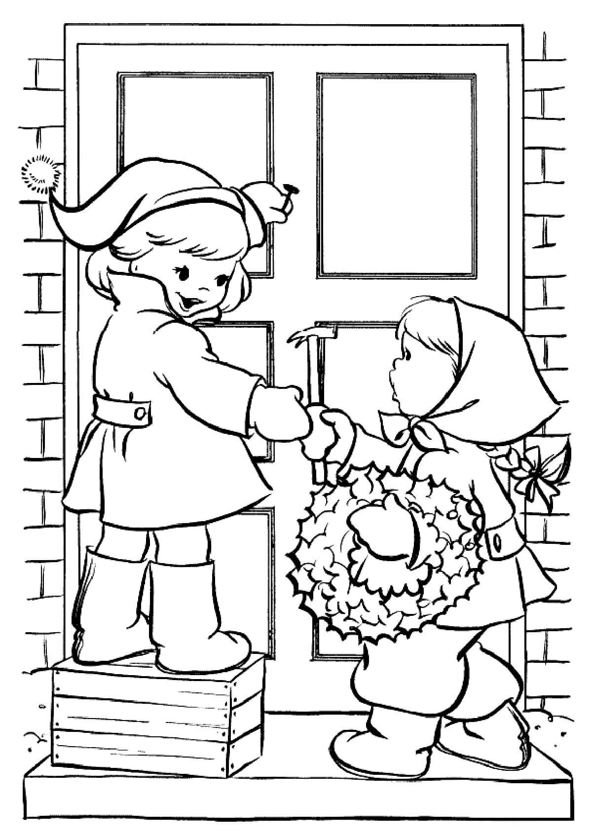 Раскраска Дети крепят рождественский веночек