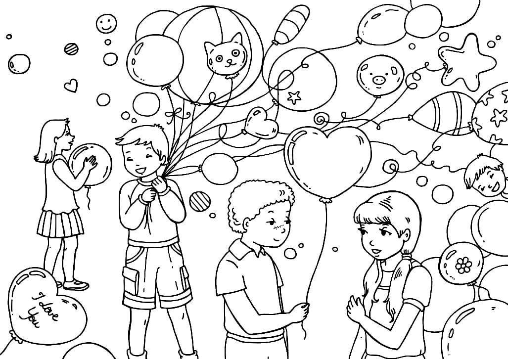 Раскраска Дети на День святого Валентина
