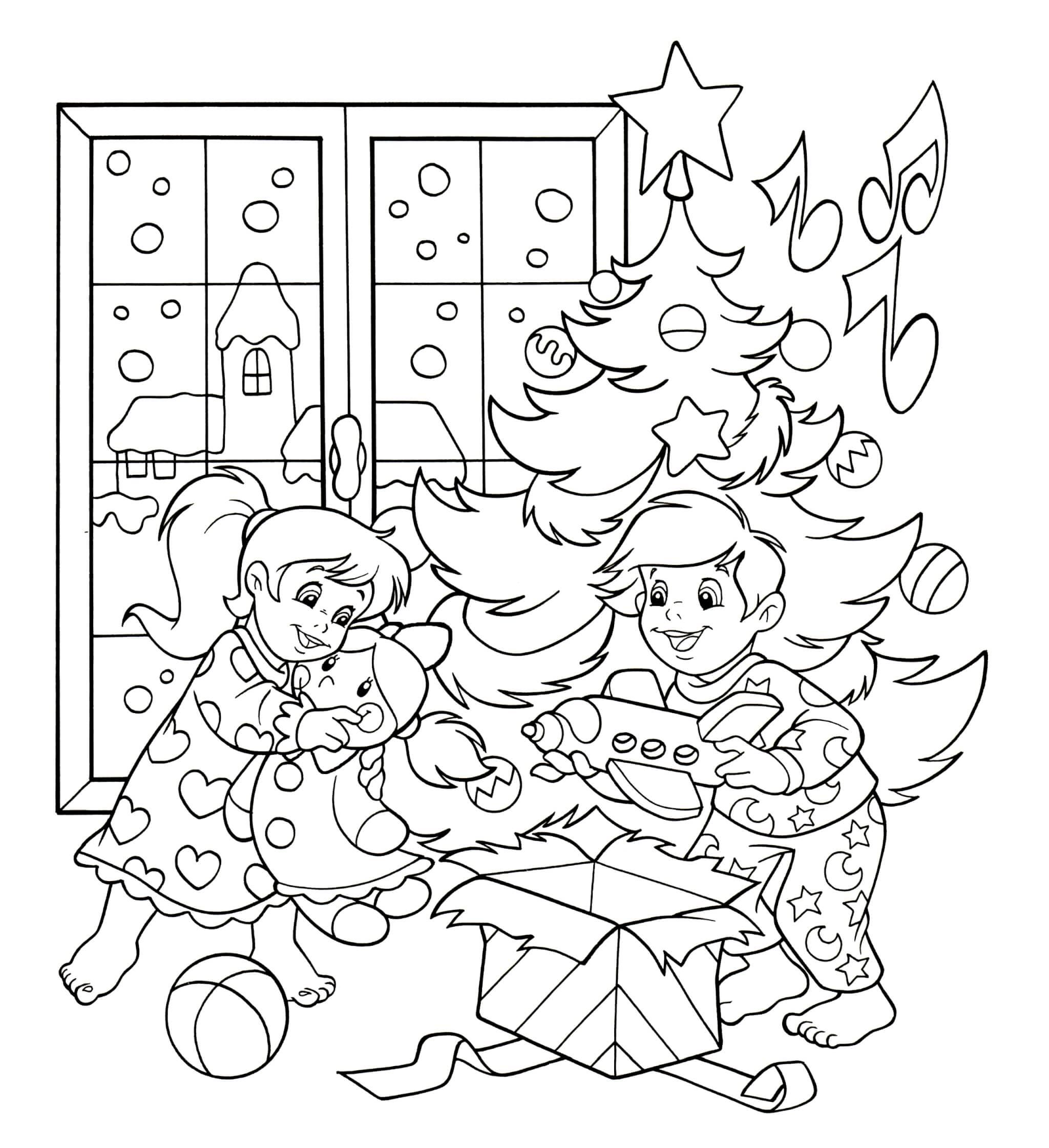 Раскраска Дети нашли подарки под ёлочкой