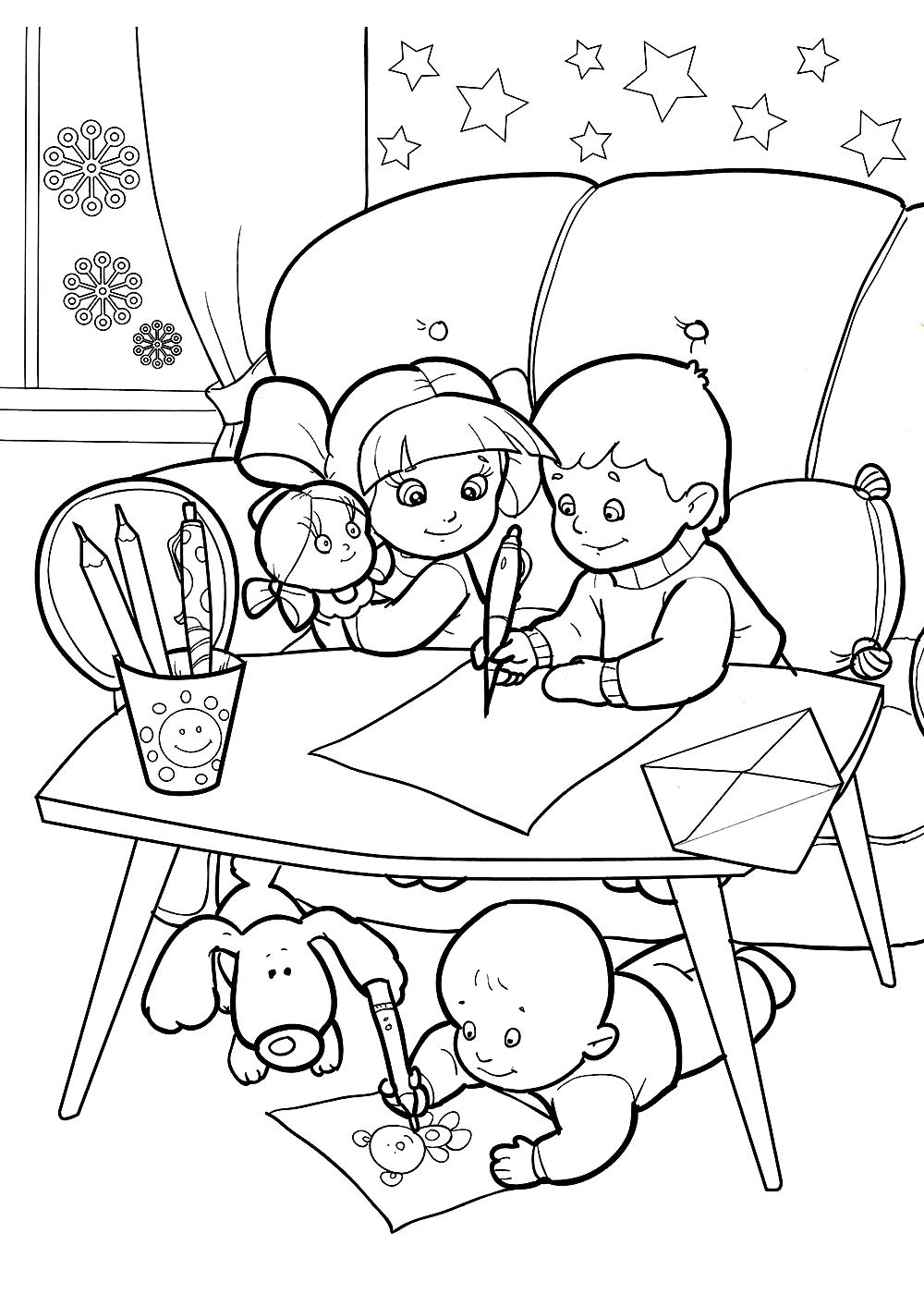 Раскраска Дети пишут письмо Деду Морозу