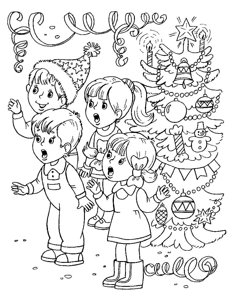 Раскраска Дети поют новогоднюю песенку