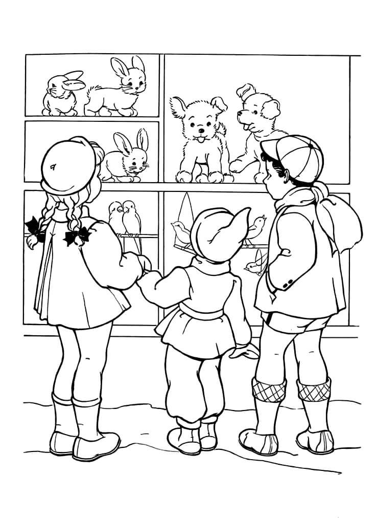 Раскраска Дети в магазине игрушек