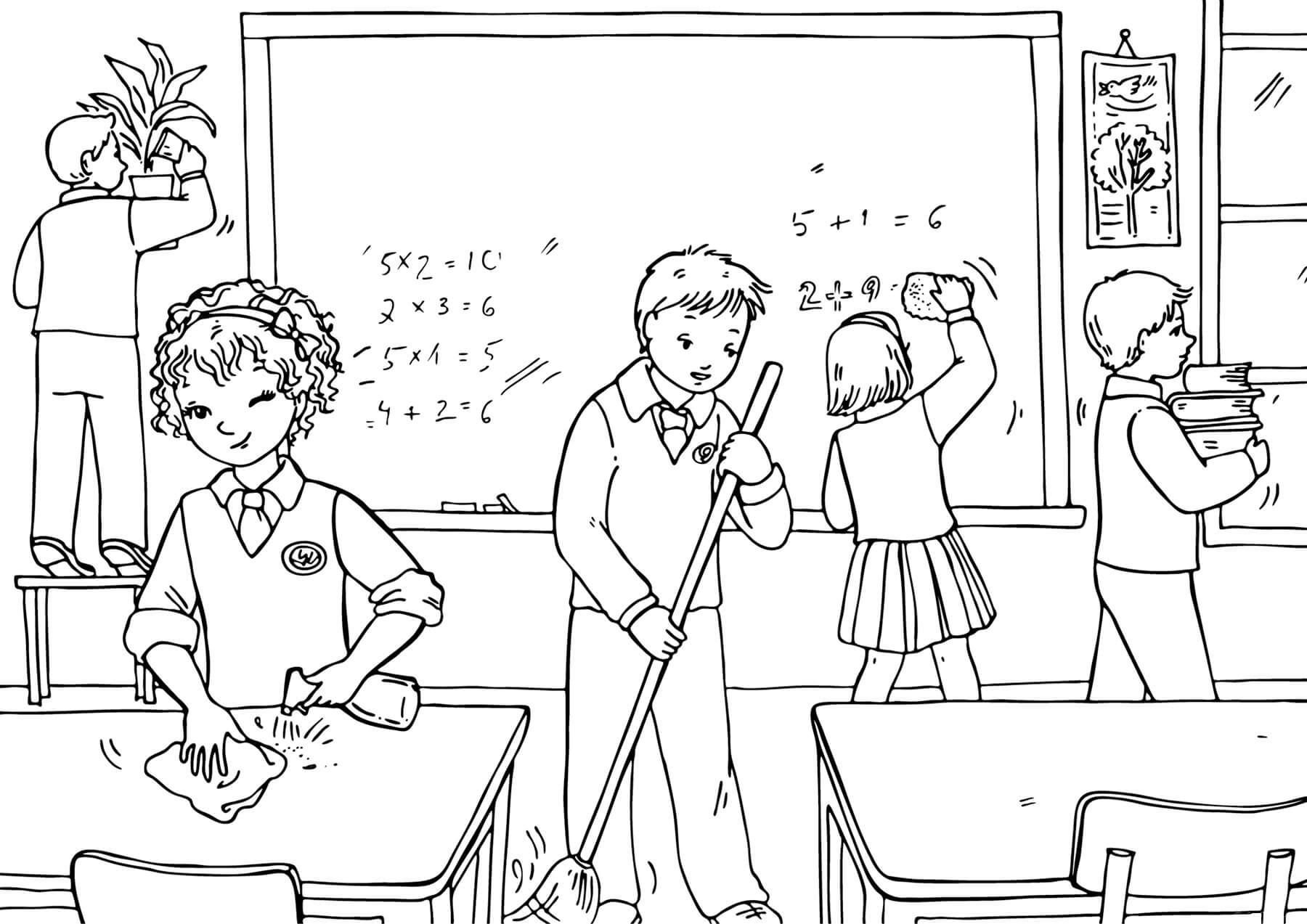 Раскраска Дети убирают в классе