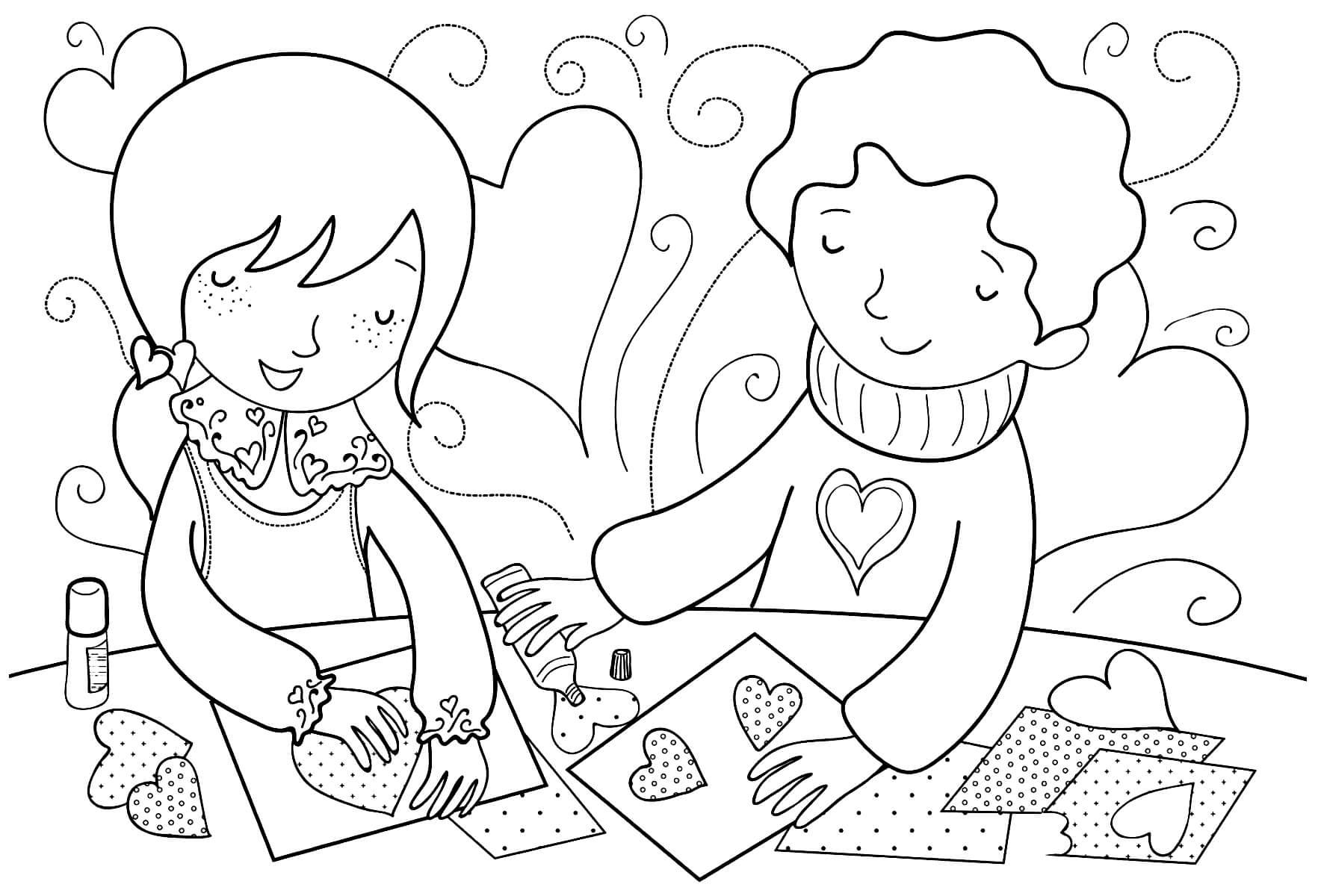 Раскраска Дети в День святого Валентина