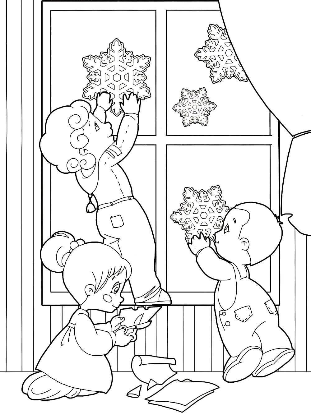 Раскраска Дети вырезают снежинки