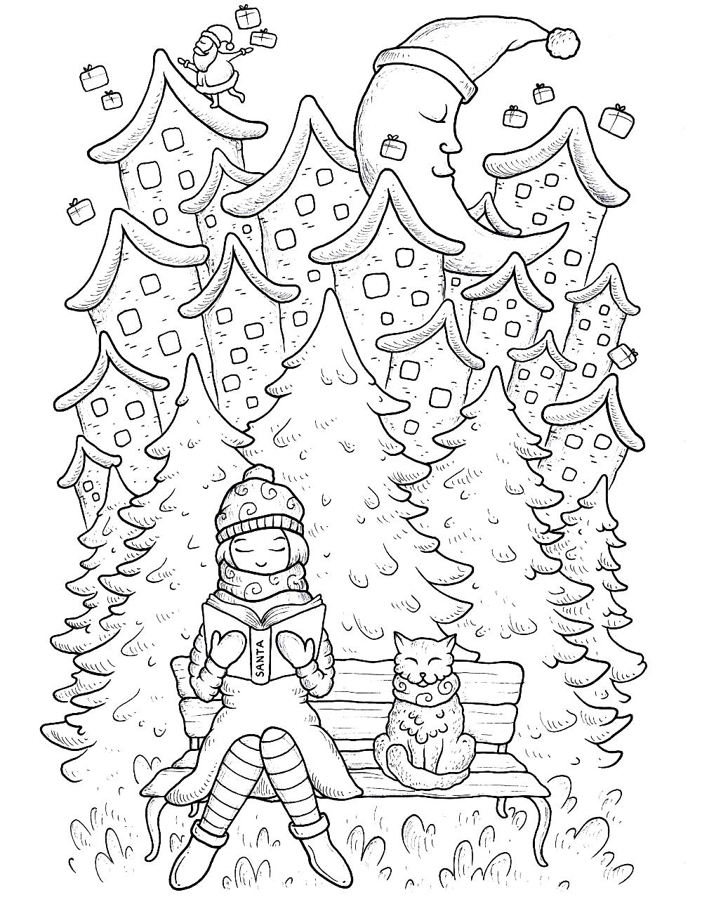 Раскраска Девочка читает книгу