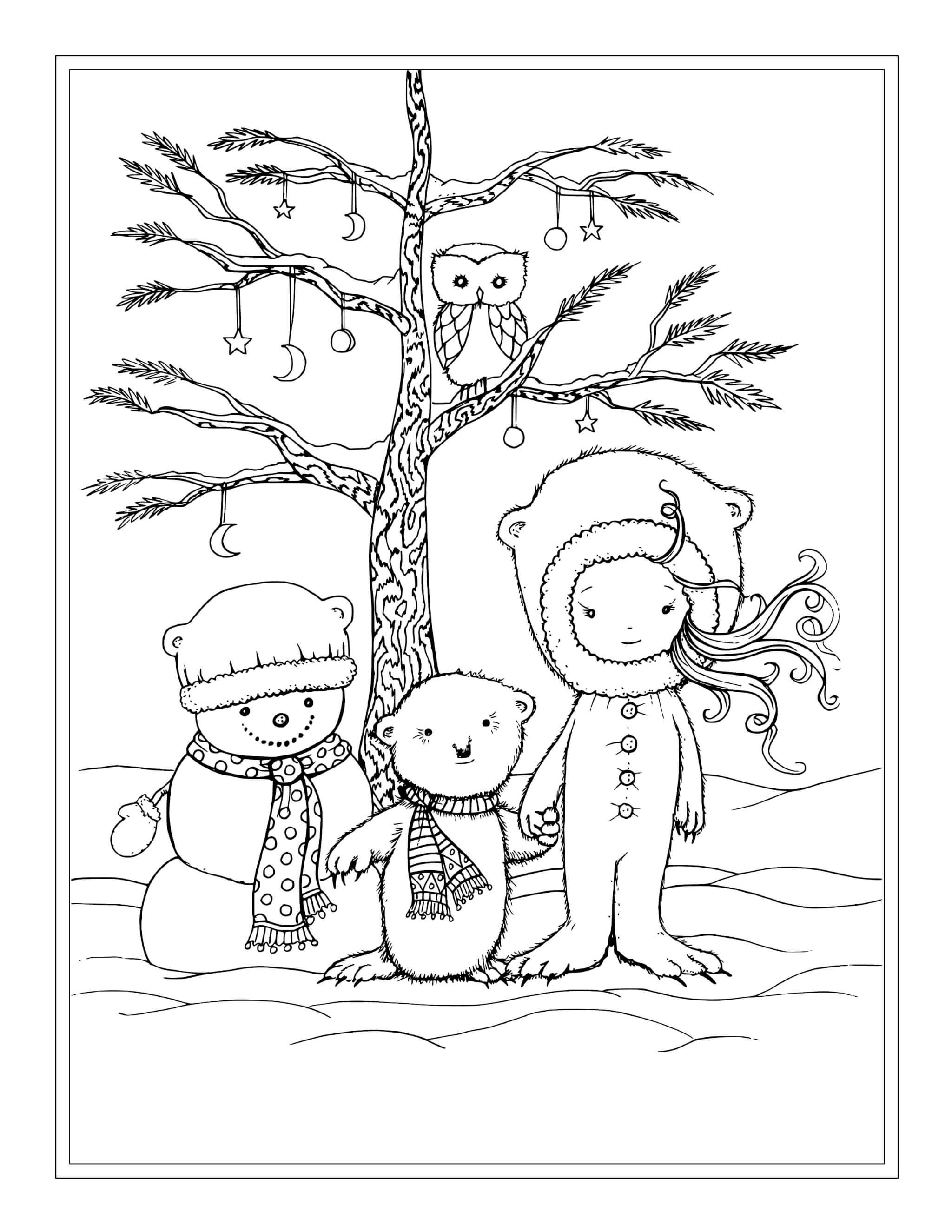 Раскраска Девочка и лесные жители
