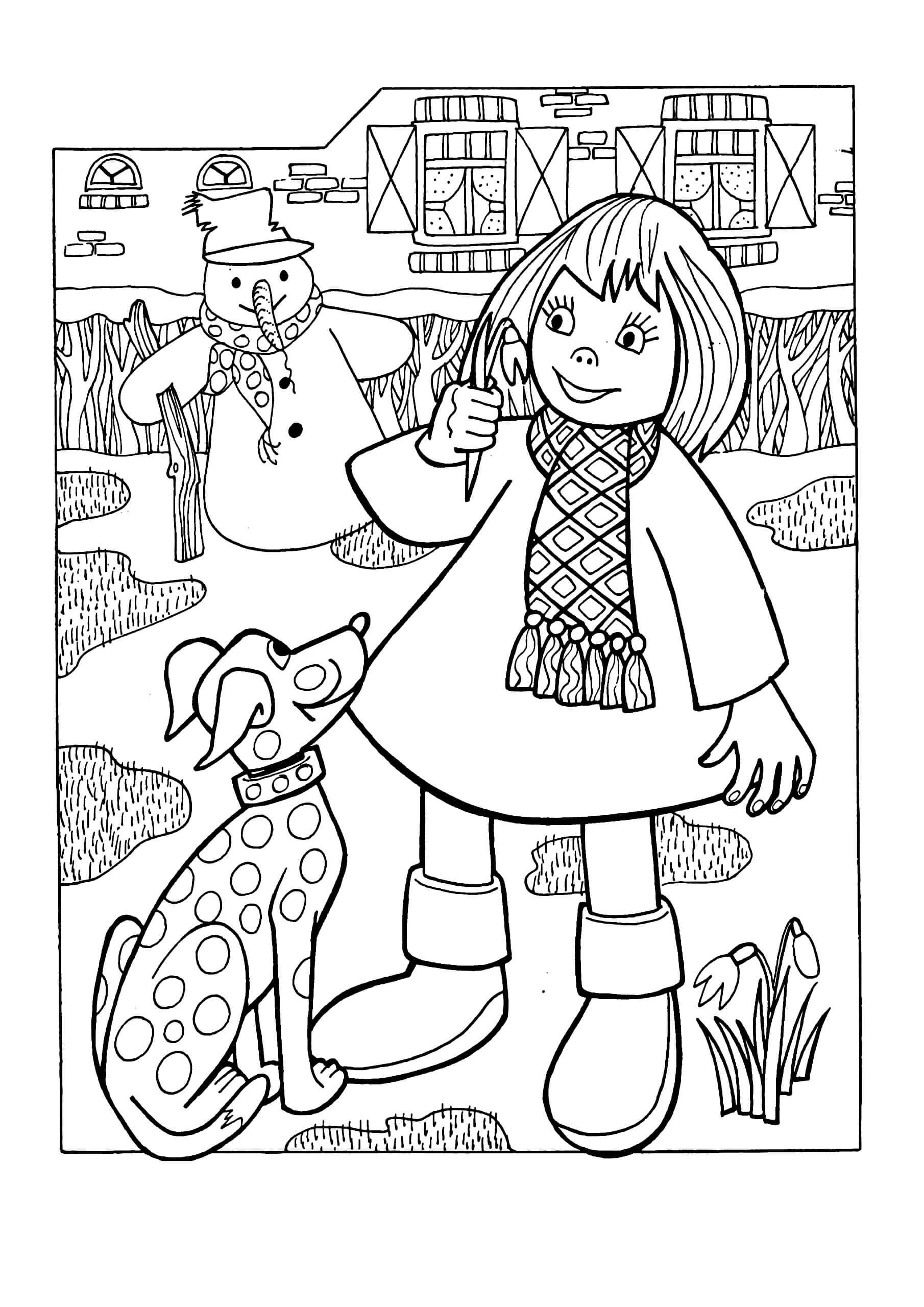 Раскраска Девочка и подснежники