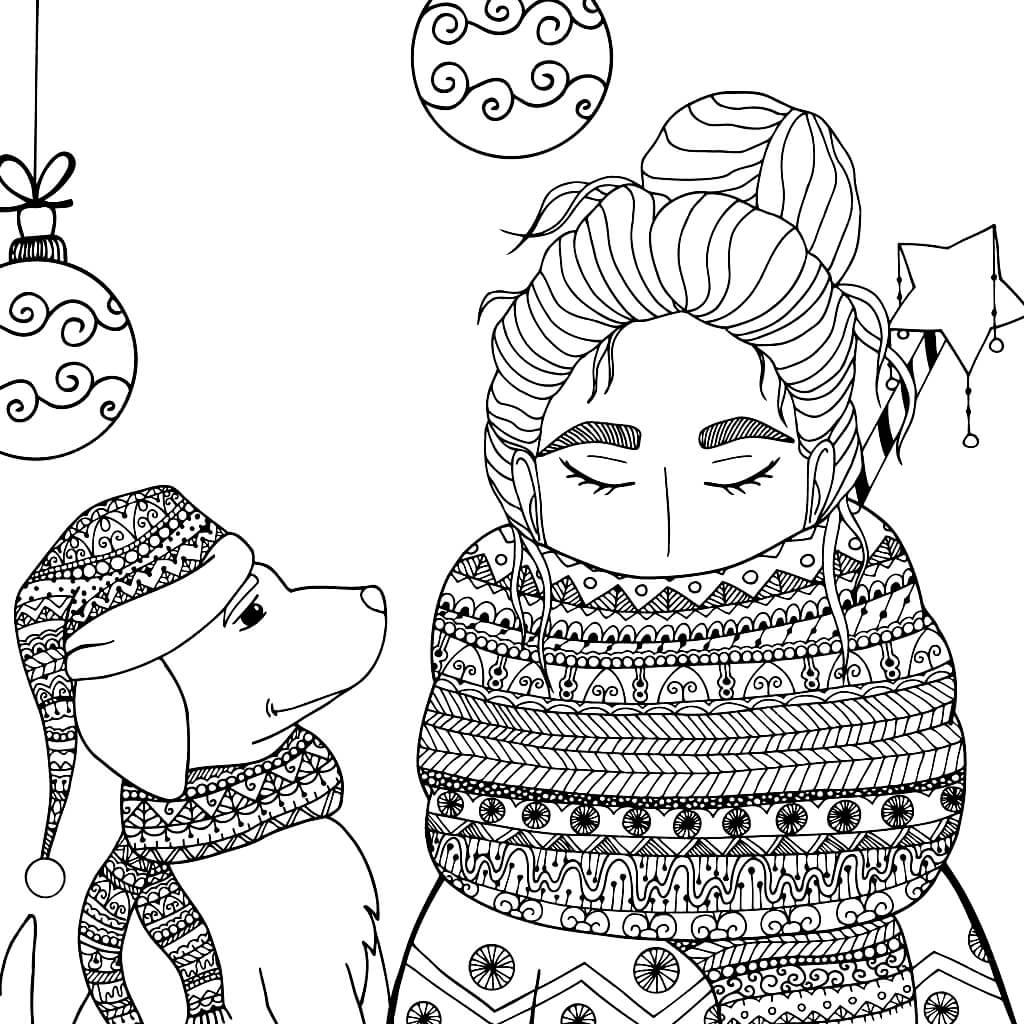 Раскраска Девочка и щенок