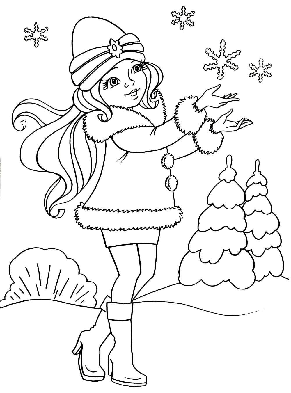 Раскраска Девочка и снежинки