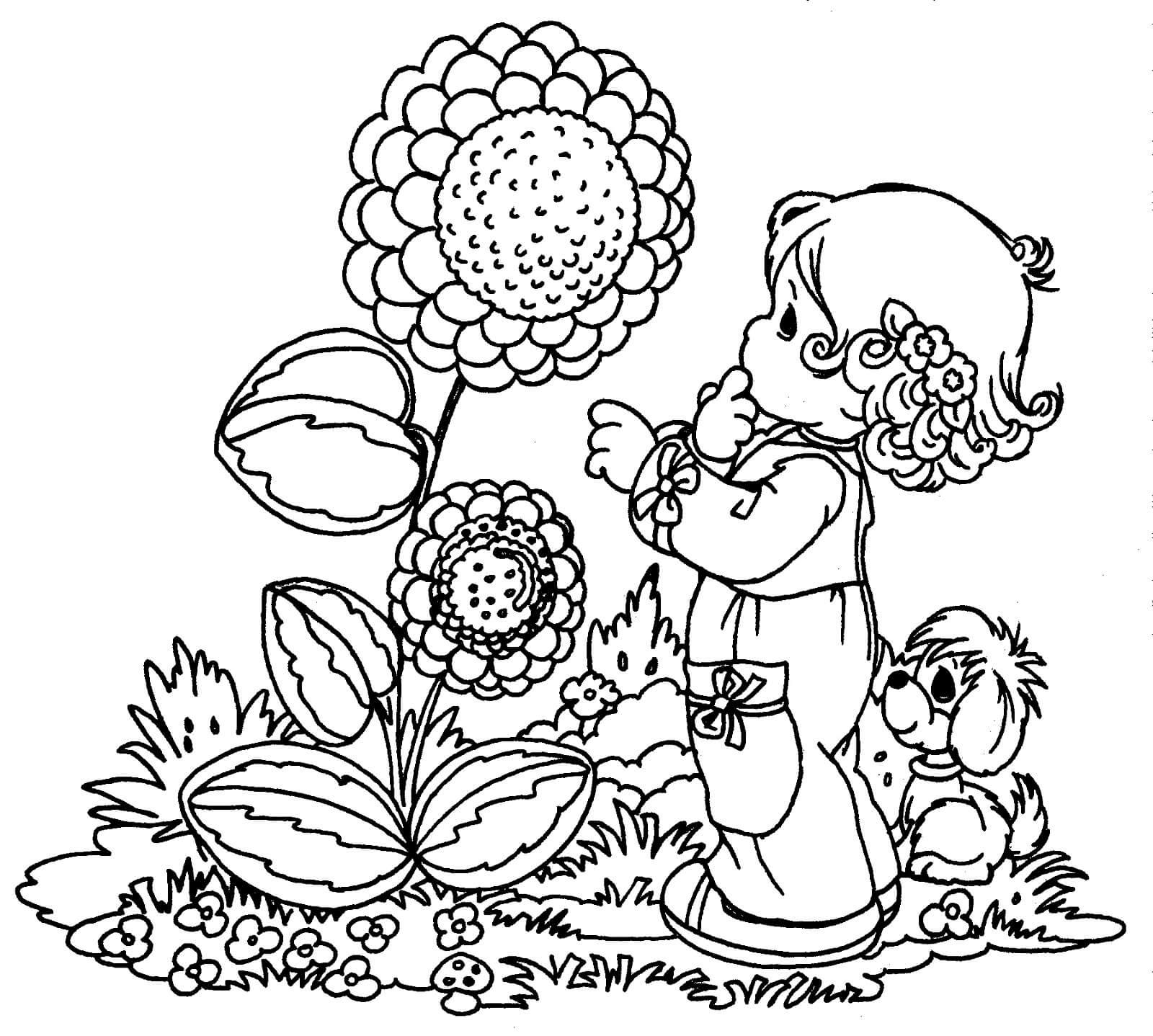 Раскраска Девочка и цветок