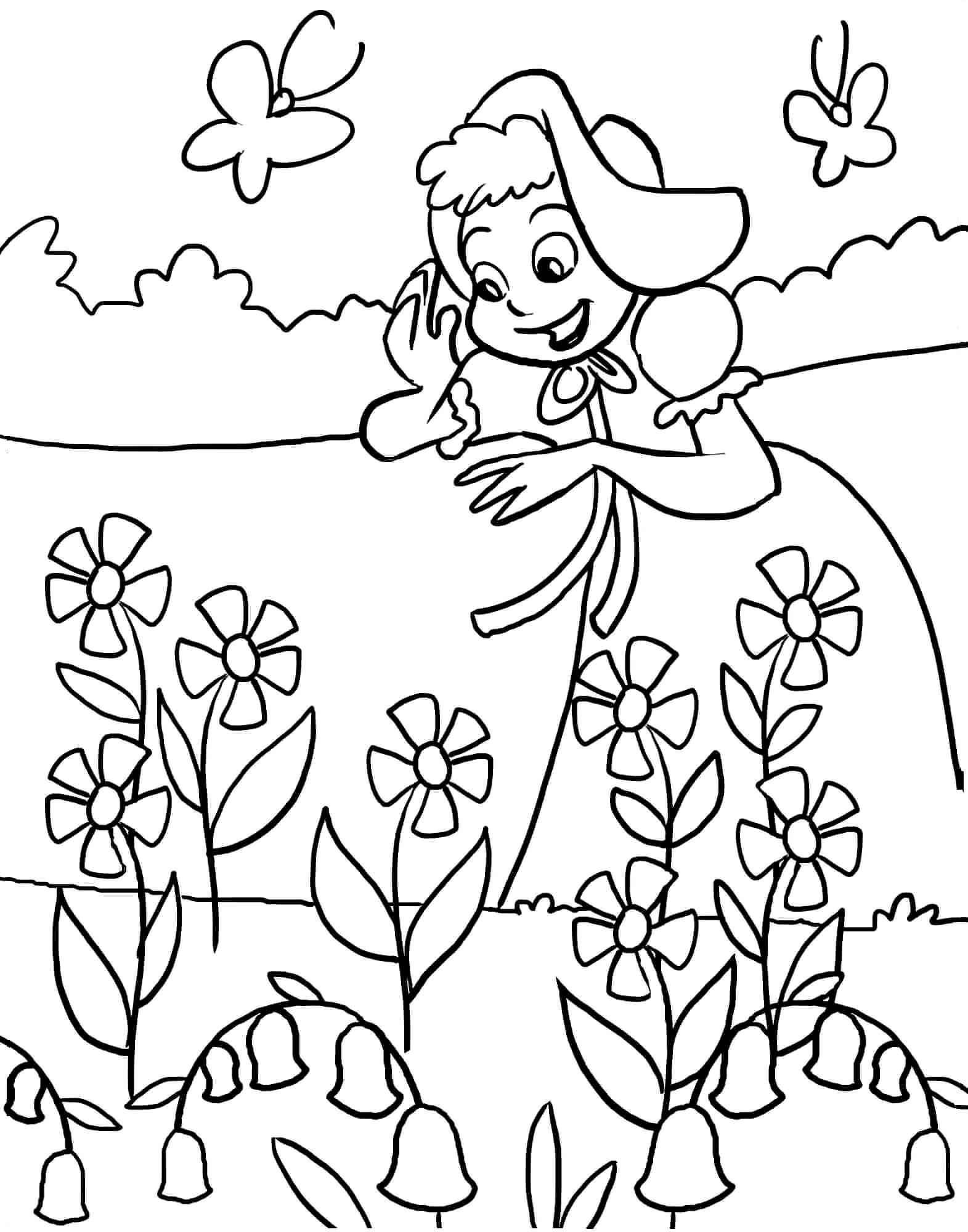 Раскраска Девочка на цветочной полянке