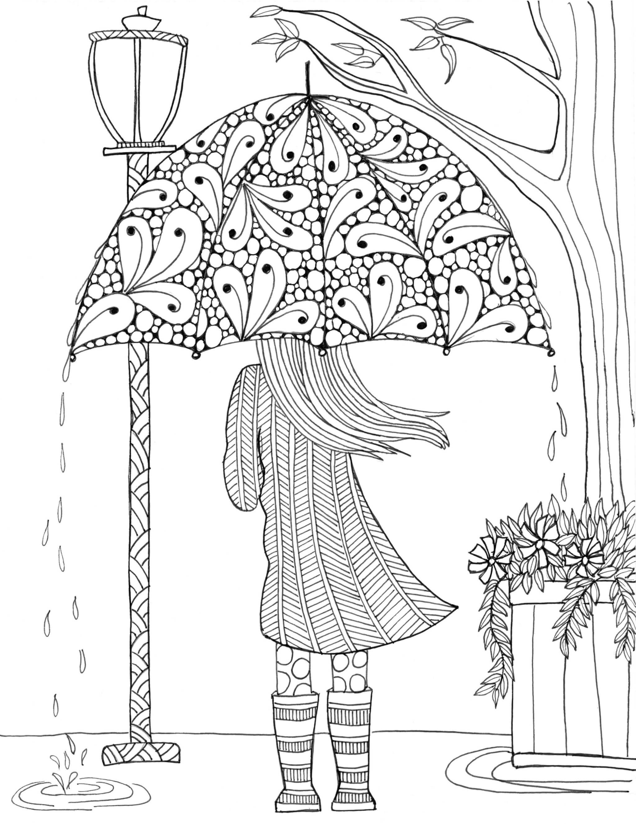 Раскраска Девочка под зонтиком