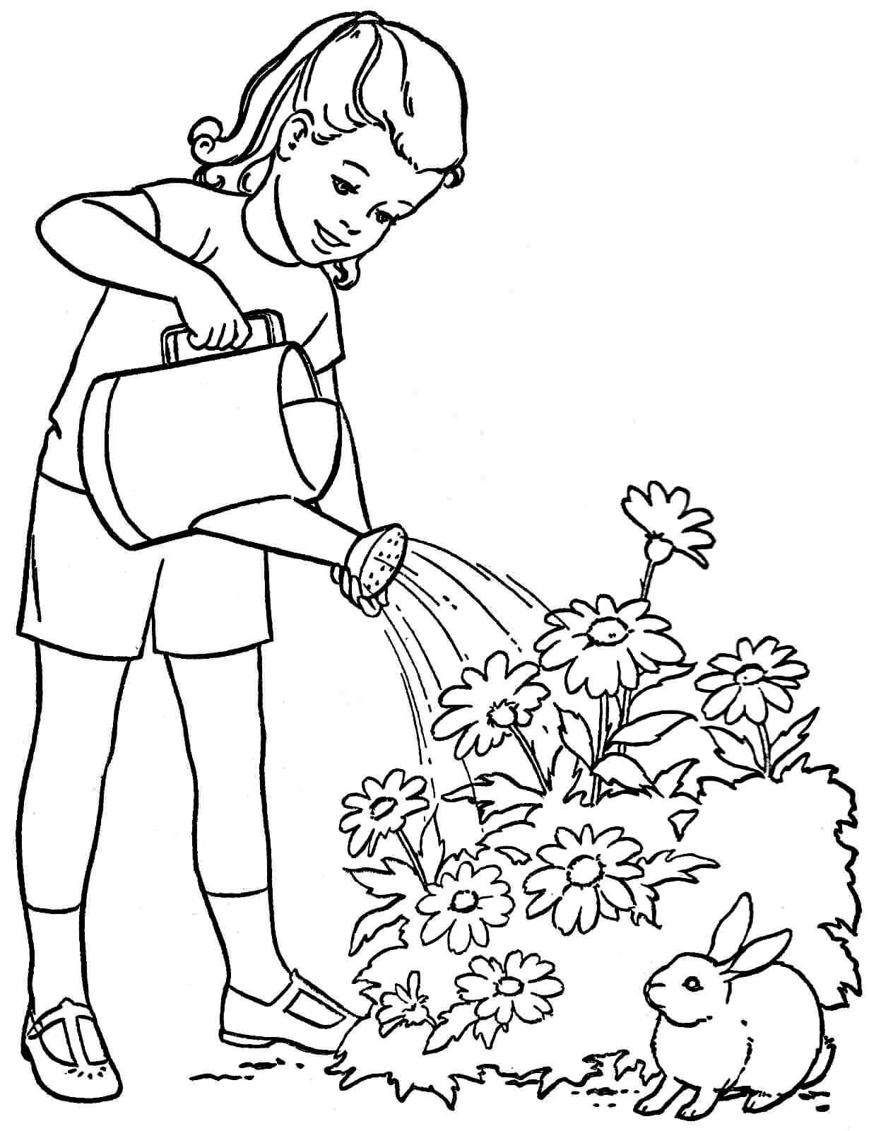 Раскраска Девочка поливает цветы