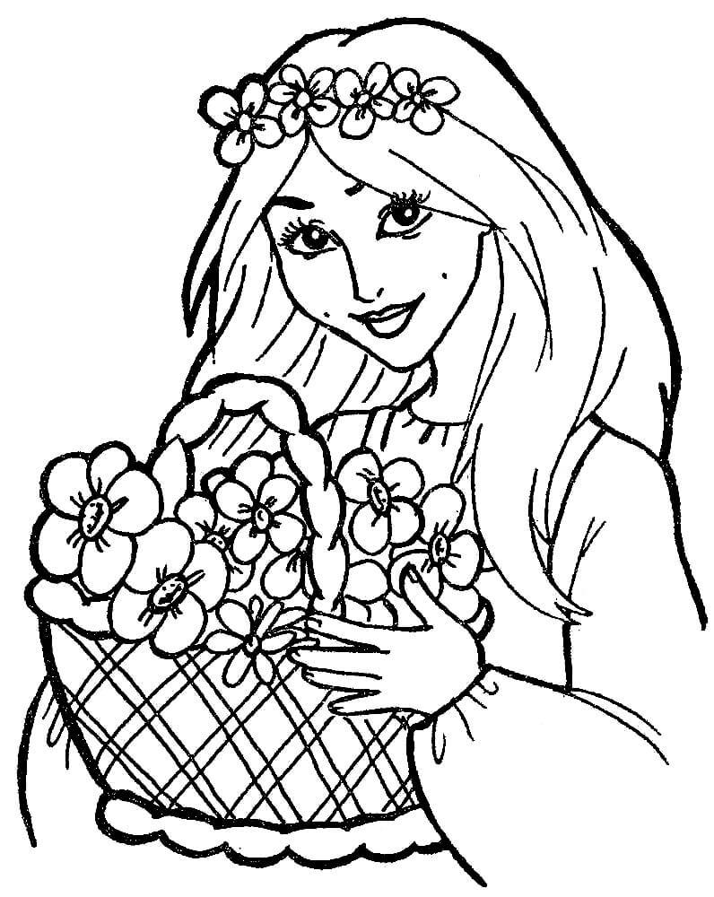 Раскраска Девочка с корзинкой цветов
