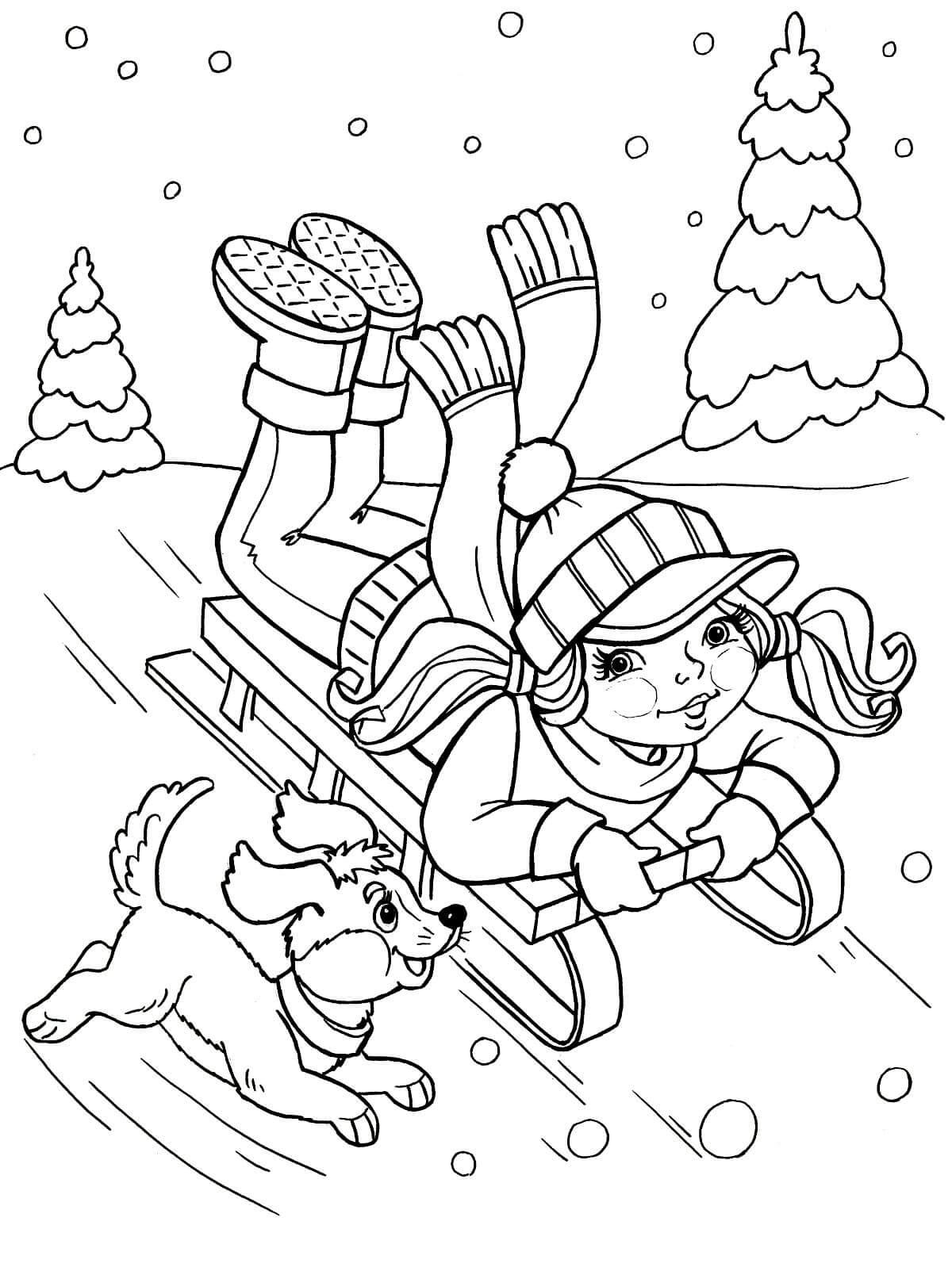 Раскраска Девочка с собачкой на санках