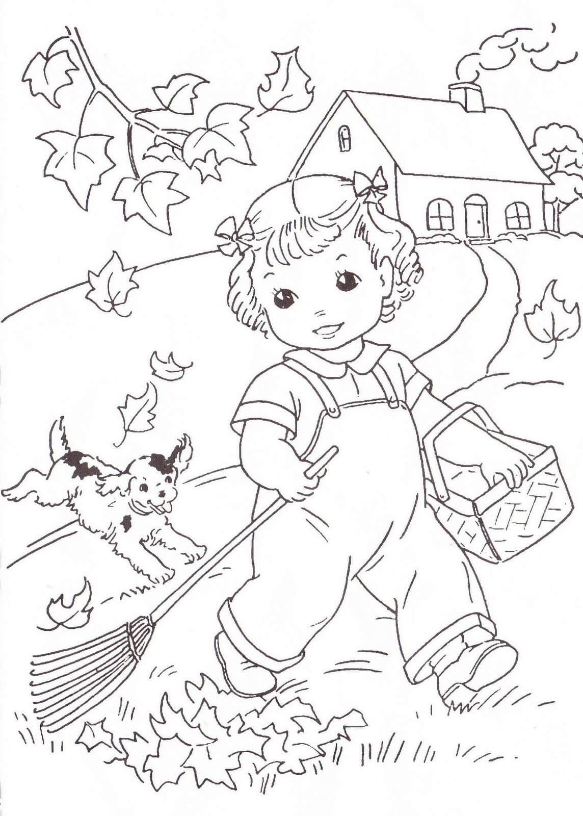 Раскраска Девочка убирает листву