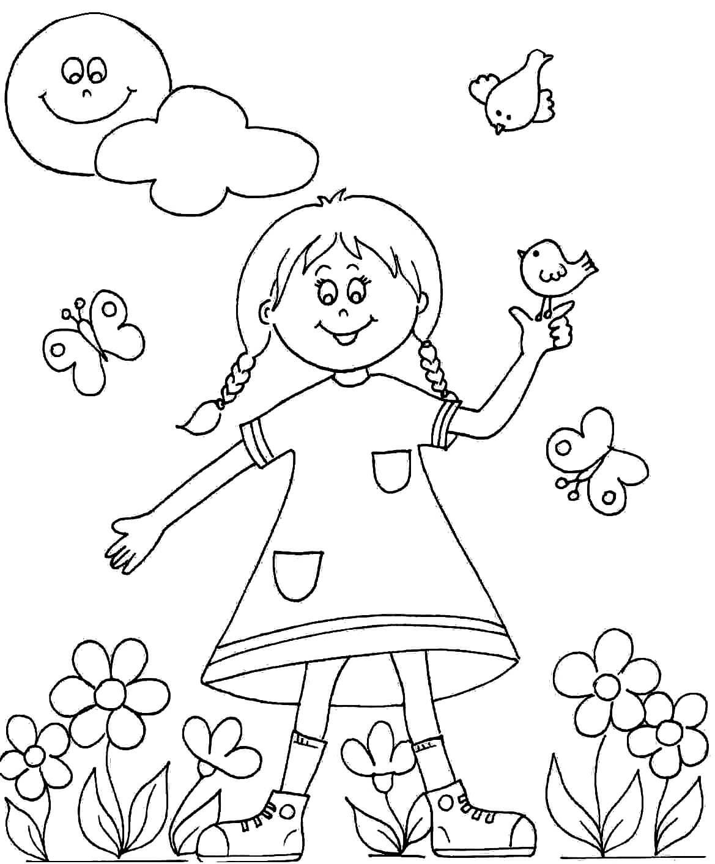 Раскраска Девочка в платьице