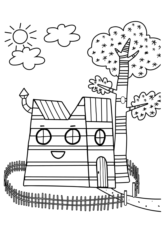 Раскраска Домик трёх котов