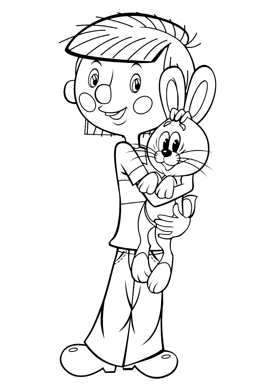 Раскраска «Дядя Фёдор и заяц»