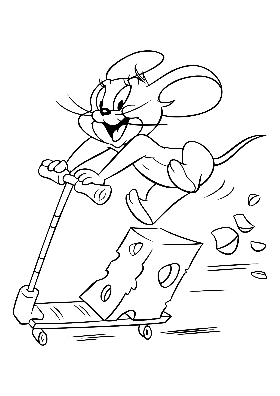 Раскраска Джерри с сыром