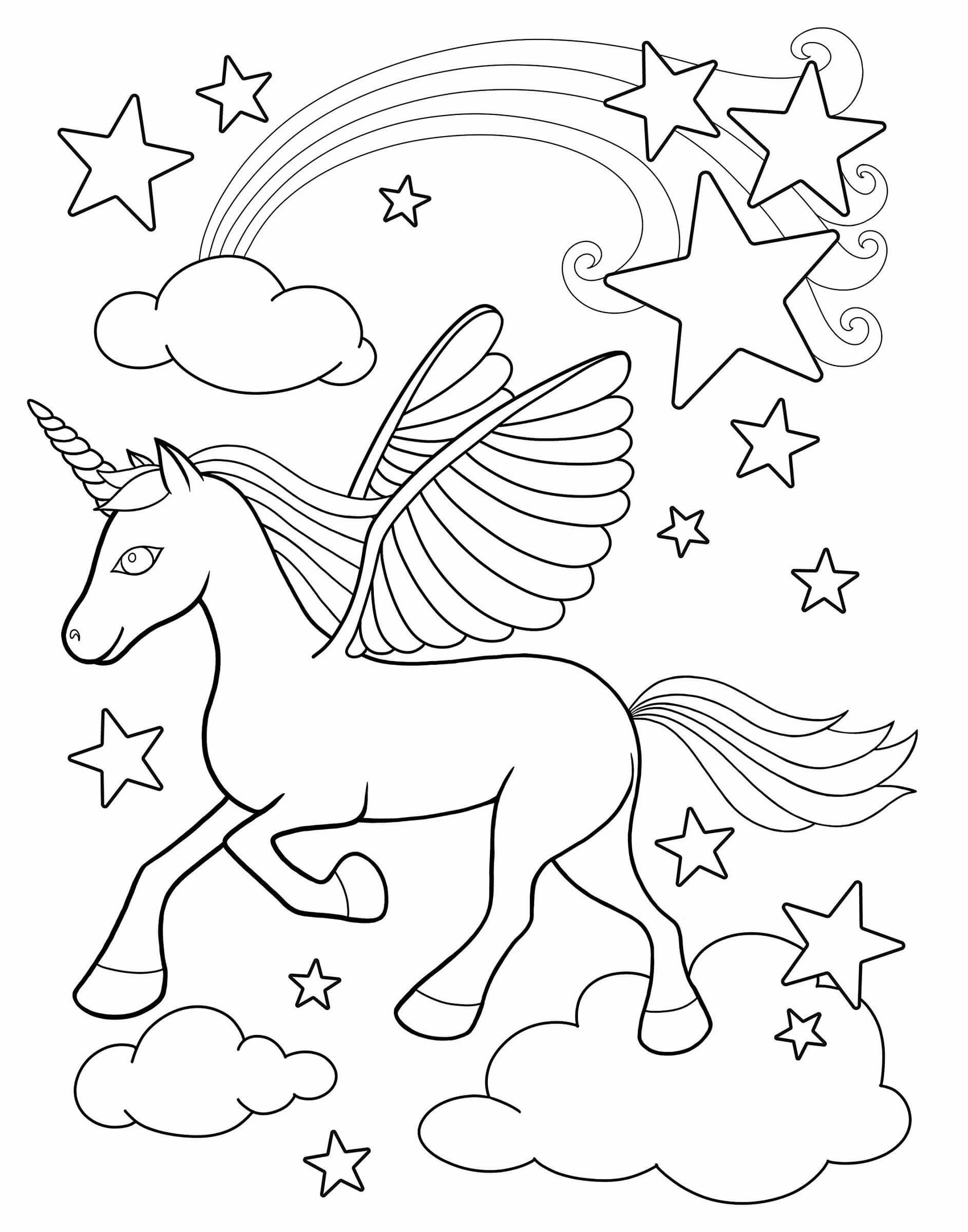Раскраска Единорог на облаках