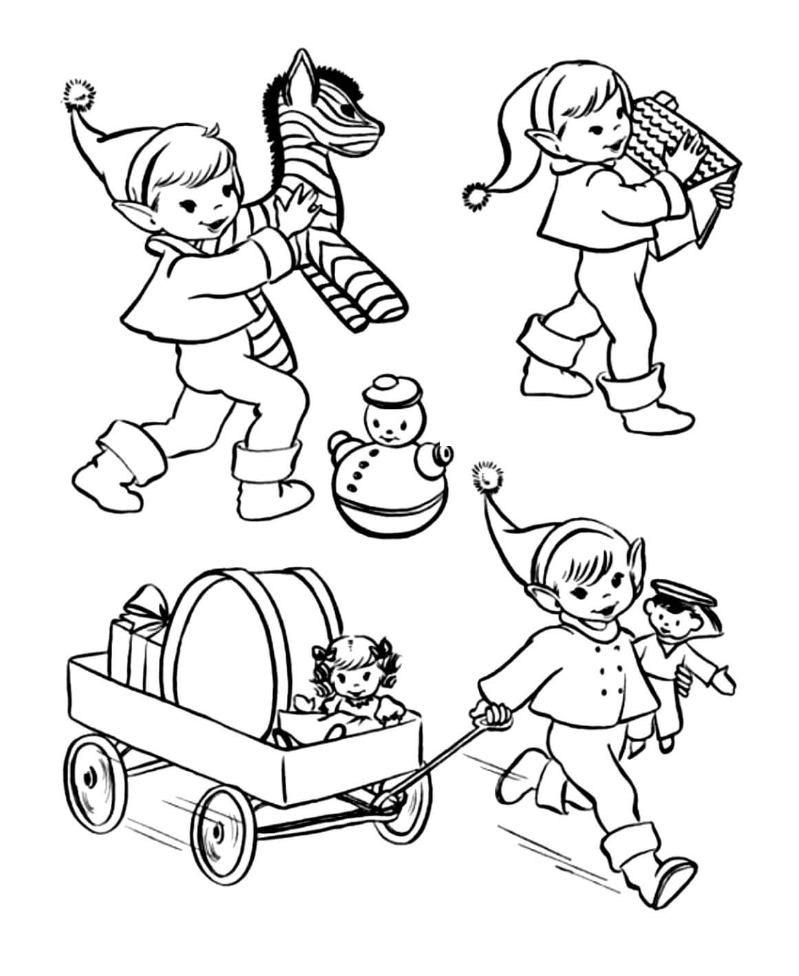 Раскраска Эльфы с подарочками
