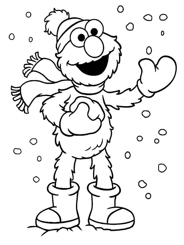 Раскраска Элмо играет в снежки