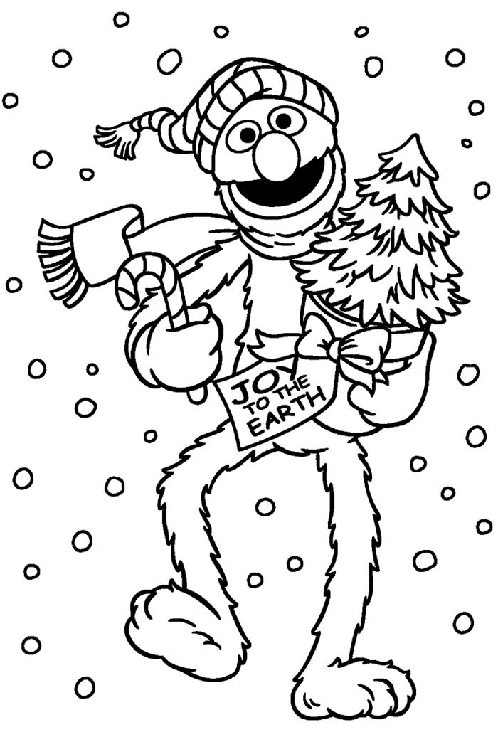 Раскраска Элмо несёт ёлочку и леденец