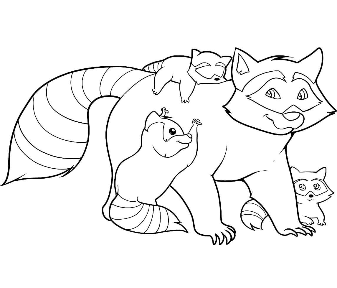Раскраска Енотиха с детёнышами