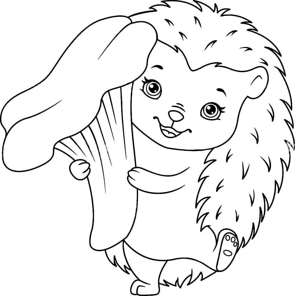 Раскраска Ежиха Клара с грибочком