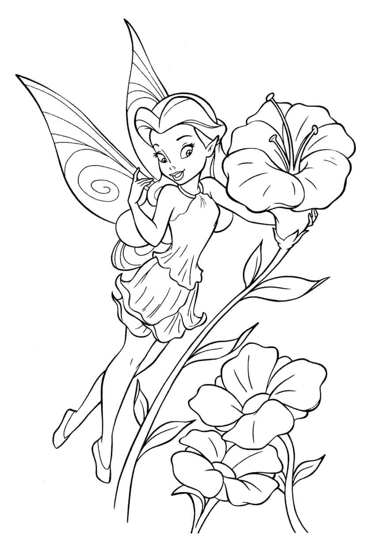Раскраска Фея и цветочек