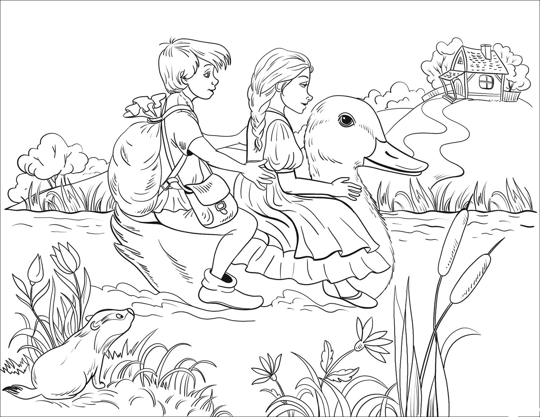 Раскраска Гензель и Гретель переплывают реку