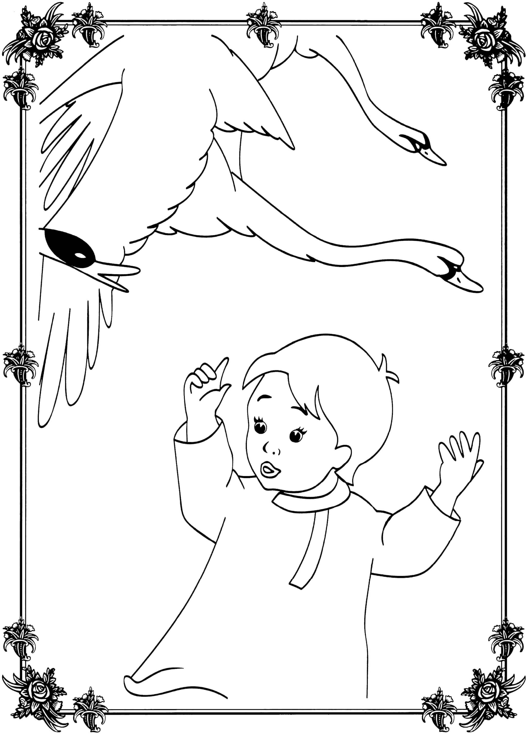 Раскраска Гуси-лебеди и мальчик