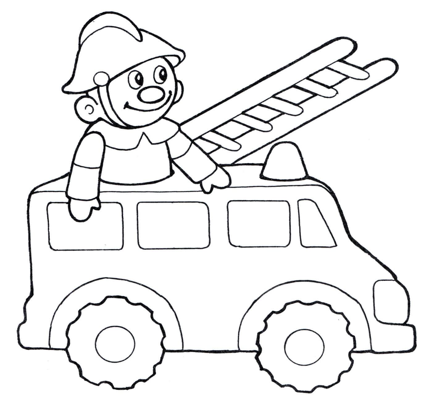 Раскраска Игрушечная пожарная машина