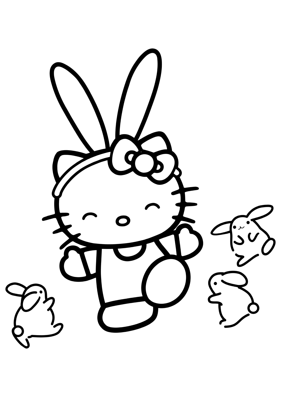 Раскраска Китти и маленькие зайчики
