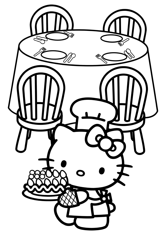Раскраска Китти приготовила торт